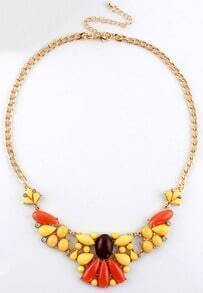 Red Yellow Gemstone Gold Chain Necklace