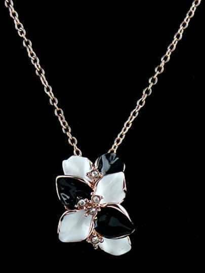 Black White Glaze Silver Flower Chain Necklace