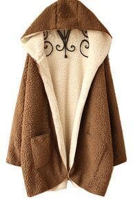 Camel Long Sleeve Hooded Fur Pocket Cardigan