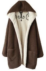 Brown Long Sleeve Hooded Fur Pocket Cardigan