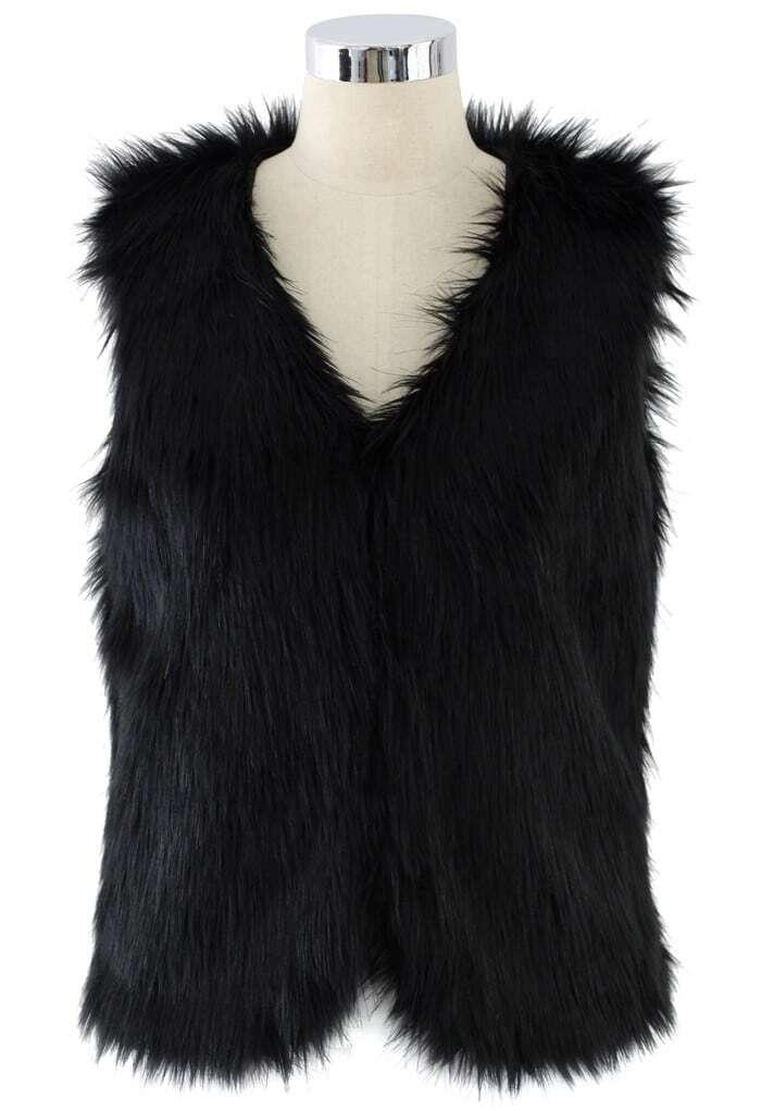 Veste en fausse fourrure sans manche noir french shein sheinside - Fourrure noir sans manche ...