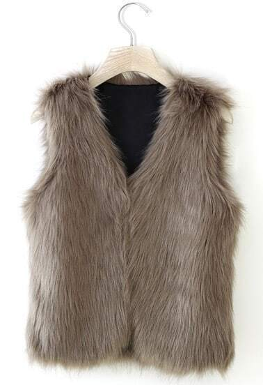Camel Sleeveless Faux Fur Coat