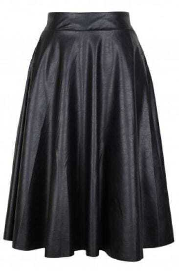 Black Pleated Pu Midi Skirt