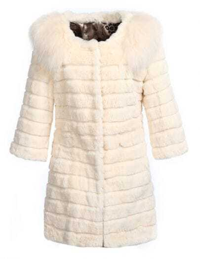 Beige Long Sleeve Faux Fur Collar Outerwear