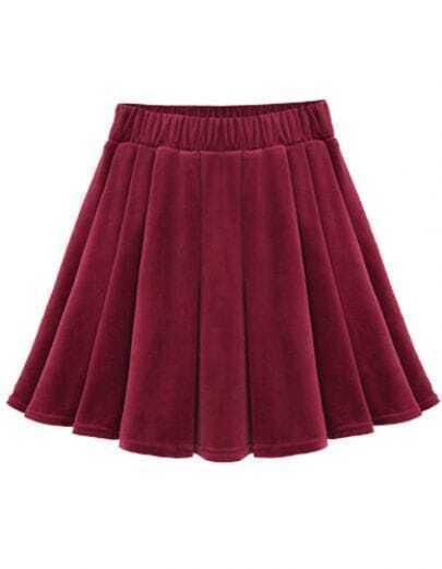 Wine Red Vintage Pleated Skirt