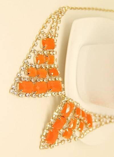 Orange Gemstone Gold Diamond Collar Neckalce