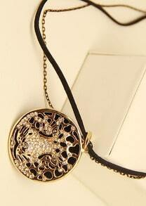 Gold Diamond Round Tiger Necklace