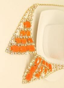 Orange Gemstone Gold Diamond Collar Neckalce