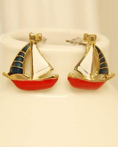Gold Glaze Sailboat Stud Earrings