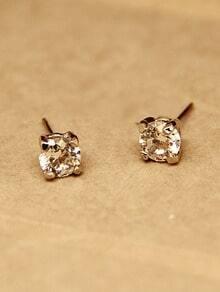 Gold Zircon Stud Earrings