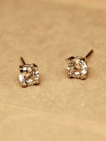 Gold Zircon Stud Earrings