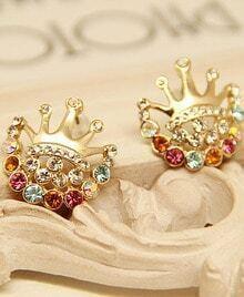 Multi Diamond Imperial Crown Stud Earrings