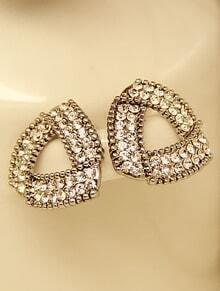 Vintage Gold Diamond Triangle Stud Earrings