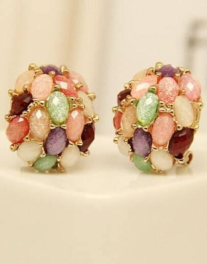 Multi Gemstone Gold Stud Earrings