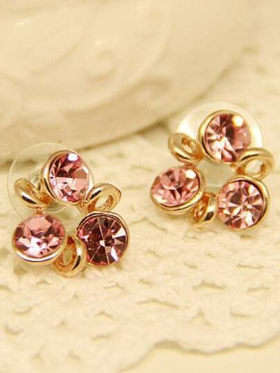 Pink Gemstone Gold Windmill Stud Earrings