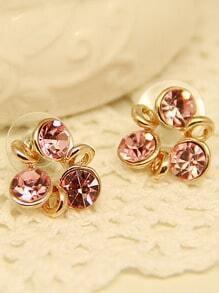 Pink Gemstone Gold Windmill Stud Earrings