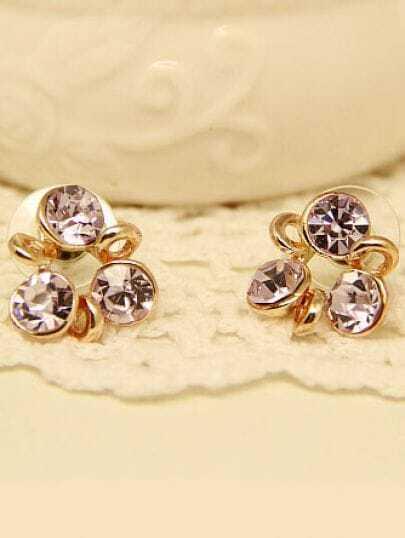 Purple Gemstone Gold Windmill Stud Earrings