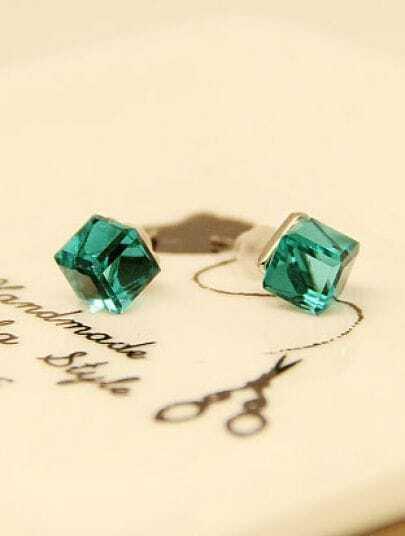 Green Diamond Cube Silver Stud Earrings