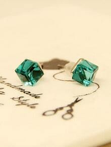 Green Diamond Cube Silver Stud Earrings