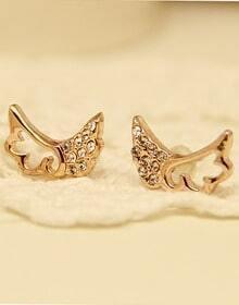 Gold Hollow Diamond Wing Stud Earrings