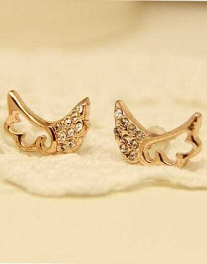 Gold Hollow Diamond Wing Stud Earrings