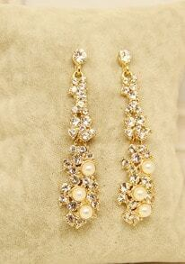 Gold Pearls Diamond Earrings