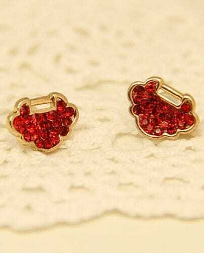 Red Diamond Gold Longevity Lock Stud Earrings
