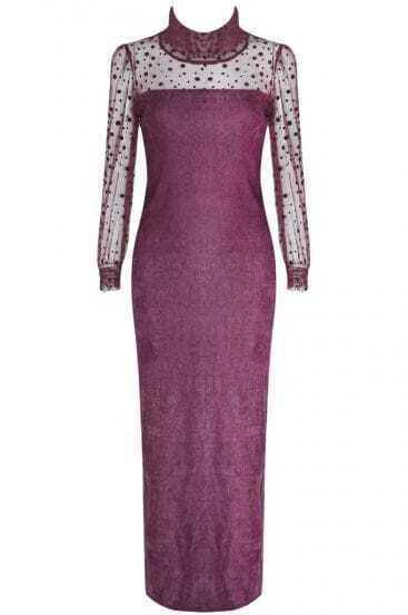 Purple Contrast Polka Dot Mesh Yoke Split Dress
