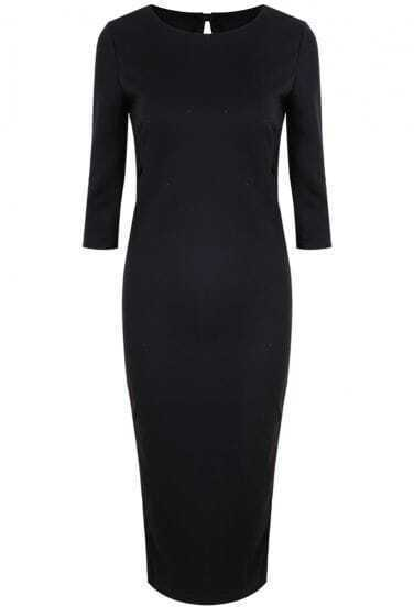 Black Long Sleeve Backless Bodycon Knit Dress