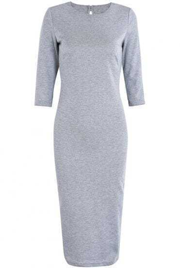 Grey Long Sleeve Backless Bodycon Knit Dress