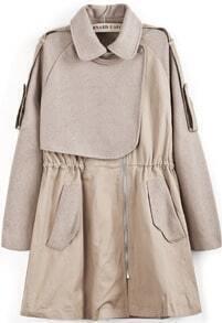 Apricot Lapel Long Sleeve Pockets Tweed Coat