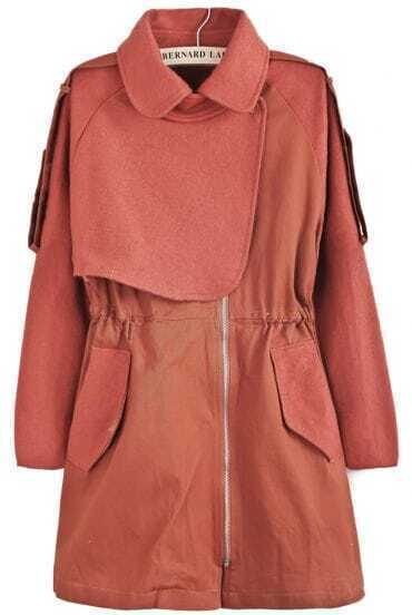 Red Lapel Long Sleeve Pockets Tweed Coat