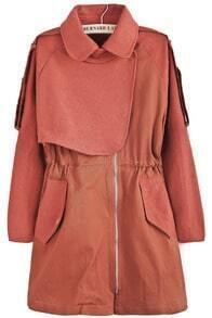 Red Lapel Long Sleeve Pockets Tweed Coat