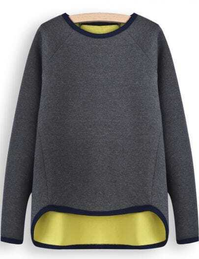 Grey Long Sleeve Contrast Trims Dipped Hem Sweatshirt