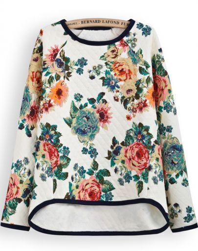 Apricot Long Sleeve Floral Dipped Hem Sweatshirt