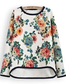 Apricot Long Sleeve Floral Dipped Hem Sweatshirt