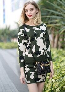 Green Camouflage Long Sleeve Knit Top With Skirt