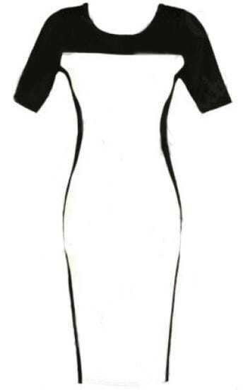 Black Contrast White Short Sleeve Bodycon Dress