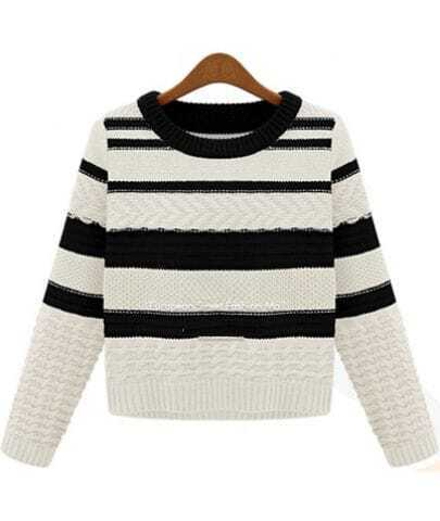 Black White Striped Long Sleeve Crop Sweater
