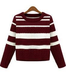 Wine Red White Striped Long Sleeve Crop Sweater