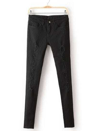 Black Slim Pockets Ripped Denim Pant