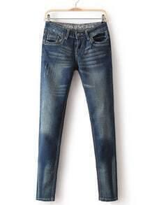 Blue Bleached Pockets Denim Pant