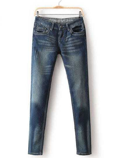 Blue Bleached Pockets Denim Pant