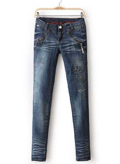 Blue Bleached Ripped Zipper Pockets Denim Pant