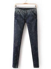 Blue Mid Waist Slim Pockets Denim Pant