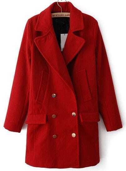 Red Lapel Long Sleeve Buttons Woolen Coat