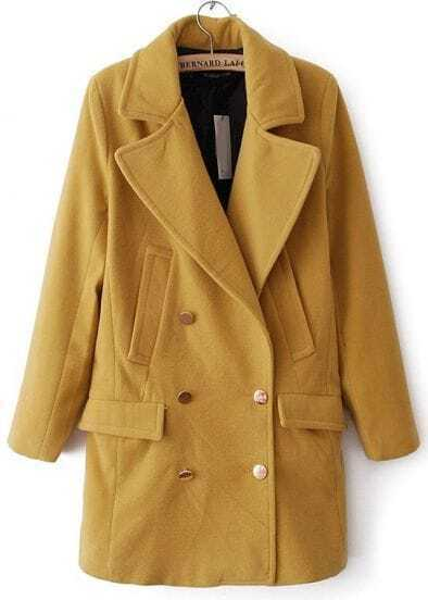Yellow Lapel Long Sleeve Buttons Woolen Coat