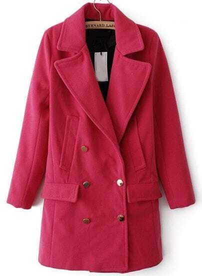 Rose Red Lapel Long Sleeve Buttons Woolen Coat