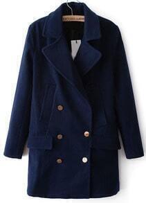 Navy Lapel Long Sleeve Buttons Woolen Coat