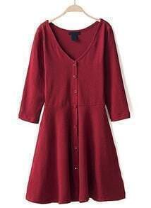 Wine Red V Neck Long Sleeve Buttons Pleated Dress